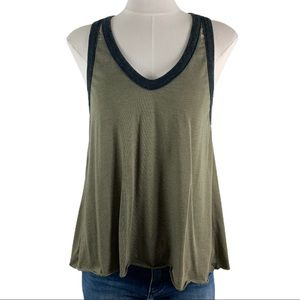 Chaser Color Blocked Green Gray Tank Top Sz M